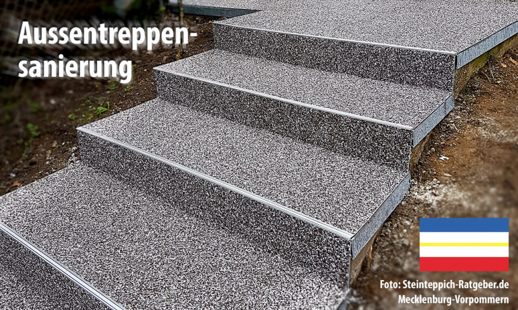 Da die Bodenbeläge aus Marmor-Steinchen auch frostsicher zu gestalten sind, lassen sich auch Aussentreppen mit diesem Bodenbelag sanieren.