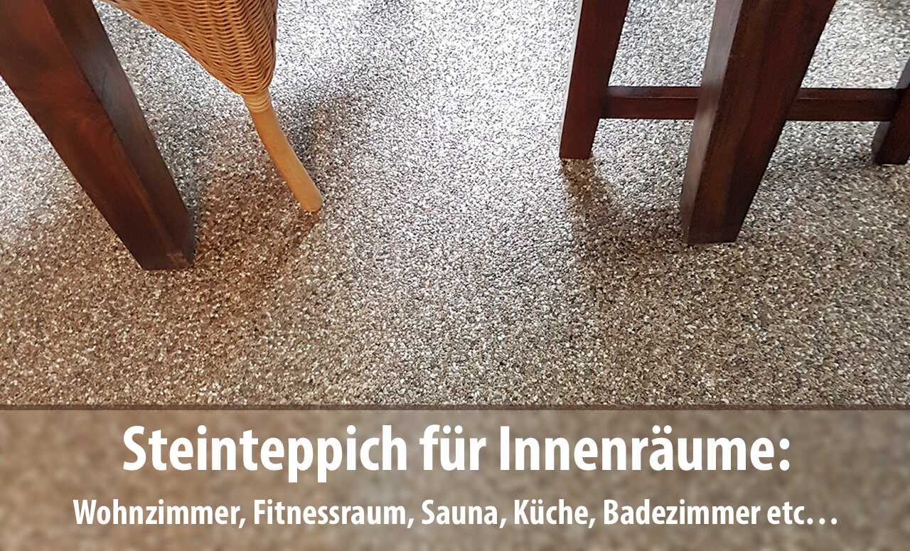 Auch in Innenräumen wie im Wohnzimmer, Badezimmer, Wellnessbereich, Sauna, Kinderzimmer oder Küche lassen sich Marmor-Steinteppiche perfekt als Bodenbelag einsetzen.